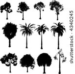 collection of silhouette trees...   Shutterstock .eps vector #4340245