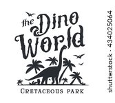 dino world logo template.... | Shutterstock .eps vector #434025064
