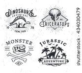 set of dino logos. t rex skull...   Shutterstock .eps vector #434030479