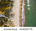 Small photo of Drone shot. Aerial photography. East coast white sand beach aerial photography. Drone photography of a beach. Beautiful view from above.