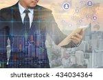 double exposure of businessman... | Shutterstock . vector #434034364