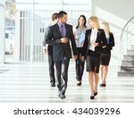 group of young associates going ... | Shutterstock . vector #434039296