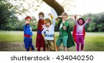 superheroes kids friends... | Shutterstock . vector #434040250
