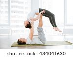 peaceful couple balancing and... | Shutterstock . vector #434041630