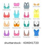 bra design vector flat colorful ... | Shutterstock .eps vector #434041720