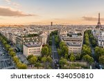 paris view from arc de triomphe ... | Shutterstock . vector #434050810