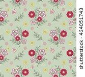 floral seamless pattern   cute... | Shutterstock . vector #434051743