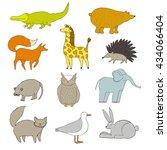 funny vector set of cute... | Shutterstock .eps vector #434066404