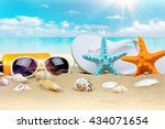 summer background with starfish ... | Shutterstock . vector #434071654