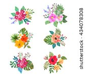 vector floral set. colorful... | Shutterstock .eps vector #434078308