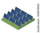 blue solar panels. flat... | Shutterstock .eps vector #434078563