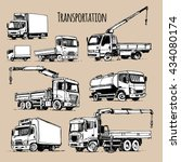 transportation set. truck... | Shutterstock .eps vector #434080174