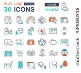 set vector line icons in flat... | Shutterstock .eps vector #434080918