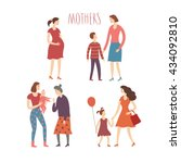 set of cartoon people.mothers... | Shutterstock .eps vector #434092810