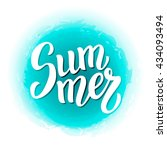 summer brush lettering text.... | Shutterstock .eps vector #434093494