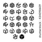 cubic alphabet set. modern 3d... | Shutterstock . vector #434098609