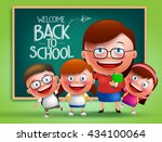 teacher and students vector... | Shutterstock .eps vector #434100064