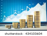 close up coin stacked growing... | Shutterstock . vector #434103604