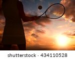 Athlete Playing Tennis With A...