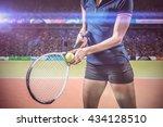 tennis player holding a racquet ... | Shutterstock . vector #434128510