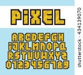 pixel art style golden alphabet ... | Shutterstock .eps vector #434139070