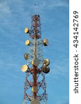 communication antenna tower on... | Shutterstock . vector #434142769