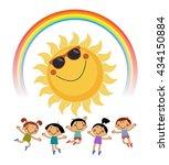summer background with sun ... | Shutterstock .eps vector #434150884