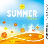 summer background with flowers... | Shutterstock .eps vector #434154670