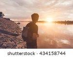 cheering young men backpacker... | Shutterstock . vector #434158744