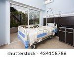bed by sliding door in...   Shutterstock . vector #434158786
