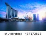 marina bay singapore at dusk ...   Shutterstock . vector #434173813