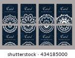 set of business cards. vintage... | Shutterstock .eps vector #434185000