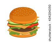 tasty and appetizing hamburger... | Shutterstock .eps vector #434204350