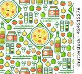 cute outline vector seamless... | Shutterstock .eps vector #434212276