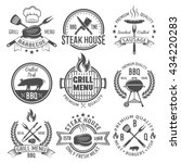 bbq graphic flat emblems with... | Shutterstock .eps vector #434220283