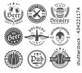 beer round emblem or label set... | Shutterstock .eps vector #434221174