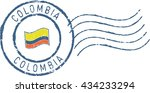 postal grunge stamp 'colombia'. ... | Shutterstock .eps vector #434233294