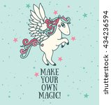 Poster With Cute Pegasus On...
