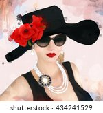 Beautiful Woman With Hat And...
