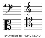 a music notes  bass clef ... | Shutterstock .eps vector #434243140