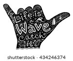 black surfer shaka hand... | Shutterstock .eps vector #434246374