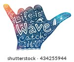 watercolor style surfer shaka... | Shutterstock .eps vector #434255944