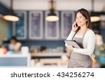 business owner with bakery shop ... | Shutterstock . vector #434256274