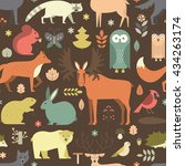 pattern with forest animals mae ... | Shutterstock .eps vector #434263174