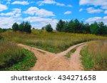 rural landscape with crossroad... | Shutterstock . vector #434271658
