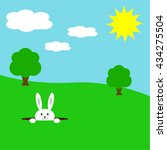 cute easter bunny in a nature.... | Shutterstock .eps vector #434275504