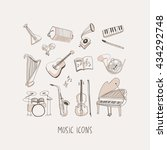 music hand drawn vector icons... | Shutterstock .eps vector #434292748