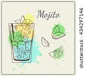 mojito. hand drawn vector... | Shutterstock .eps vector #434297146