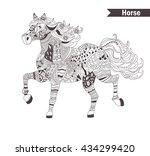 horse. zentangle style.... | Shutterstock .eps vector #434299420