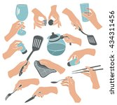 cooking hands in flat stile... | Shutterstock .eps vector #434311456